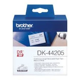 Brother Cinta de papel continuo removible blanca, 62mm x 30,48m