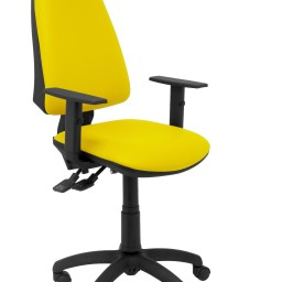 Silla Elche sincro similpiel amarillo con brazo regulable