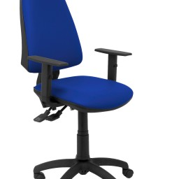 Silla Elche sincro similpiel azul con brazo regulable