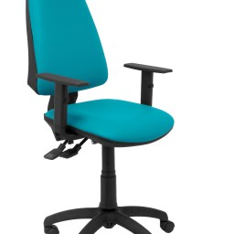 Silla Elche sincro similpiel verde con brazo regulable